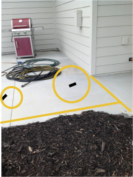 An example photo of a patio that have been measured for a quick quote request.
