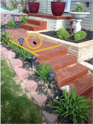 An example photo of a set of steps that have been measured for a quick quote request.